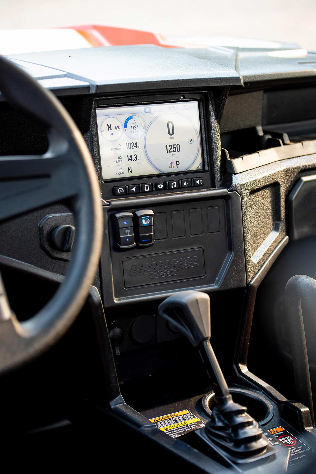An all-weather interior is outfitted with Polaris Ride Command to make sure you always know where you are and what's going on.