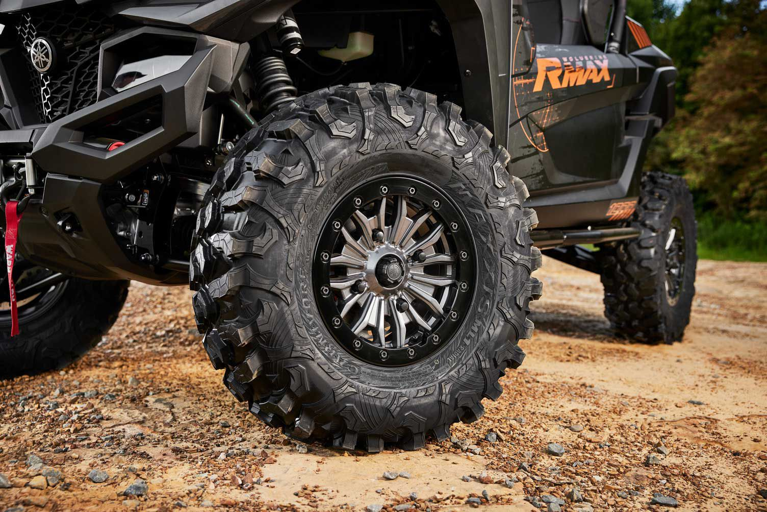New for 2022, the RMAX Sport, XT-R, and LE two-seaters get a set of color-matched aluminum beadlock wheels.