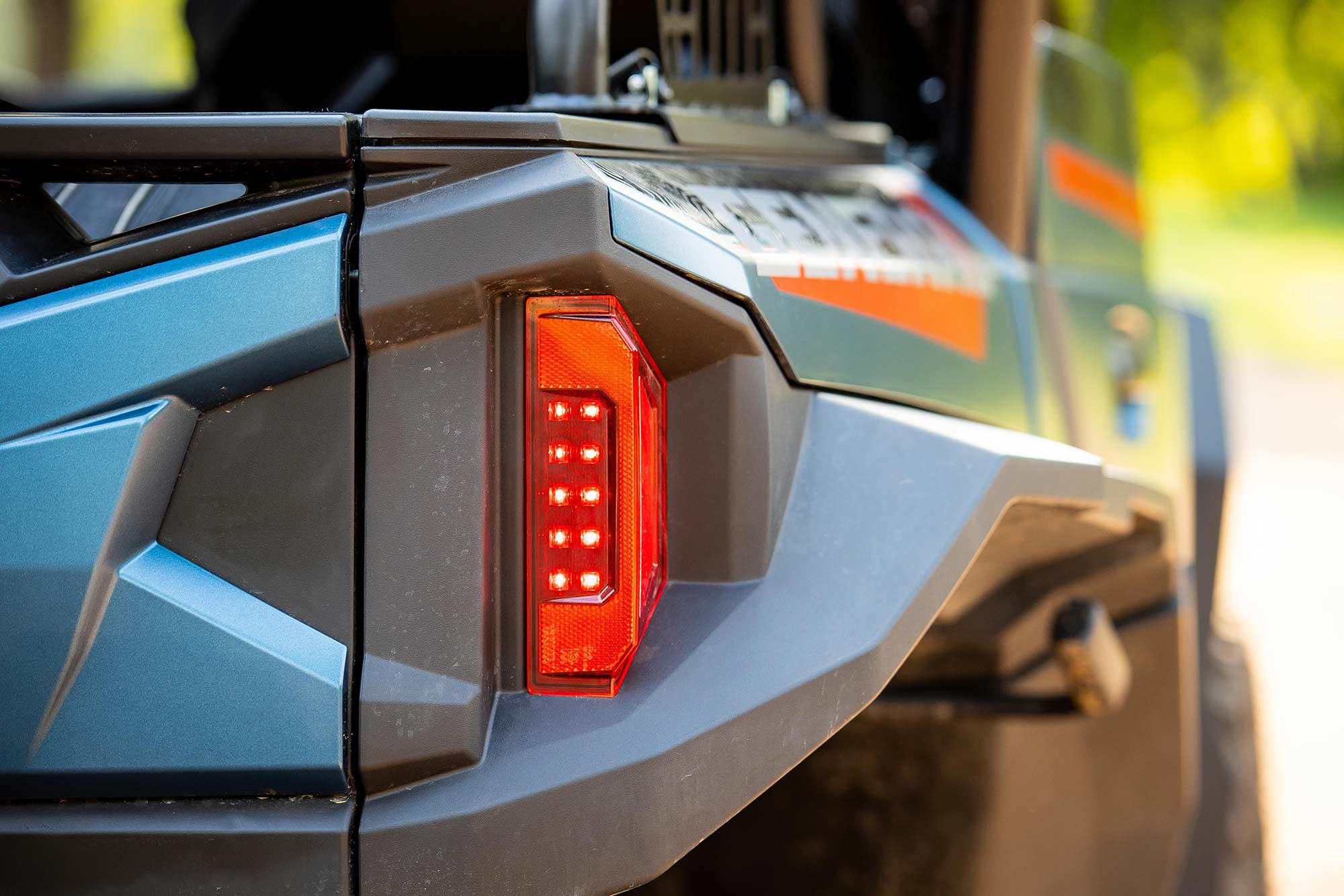 LED taillights and wide fenders help keep your rig safe and clean.