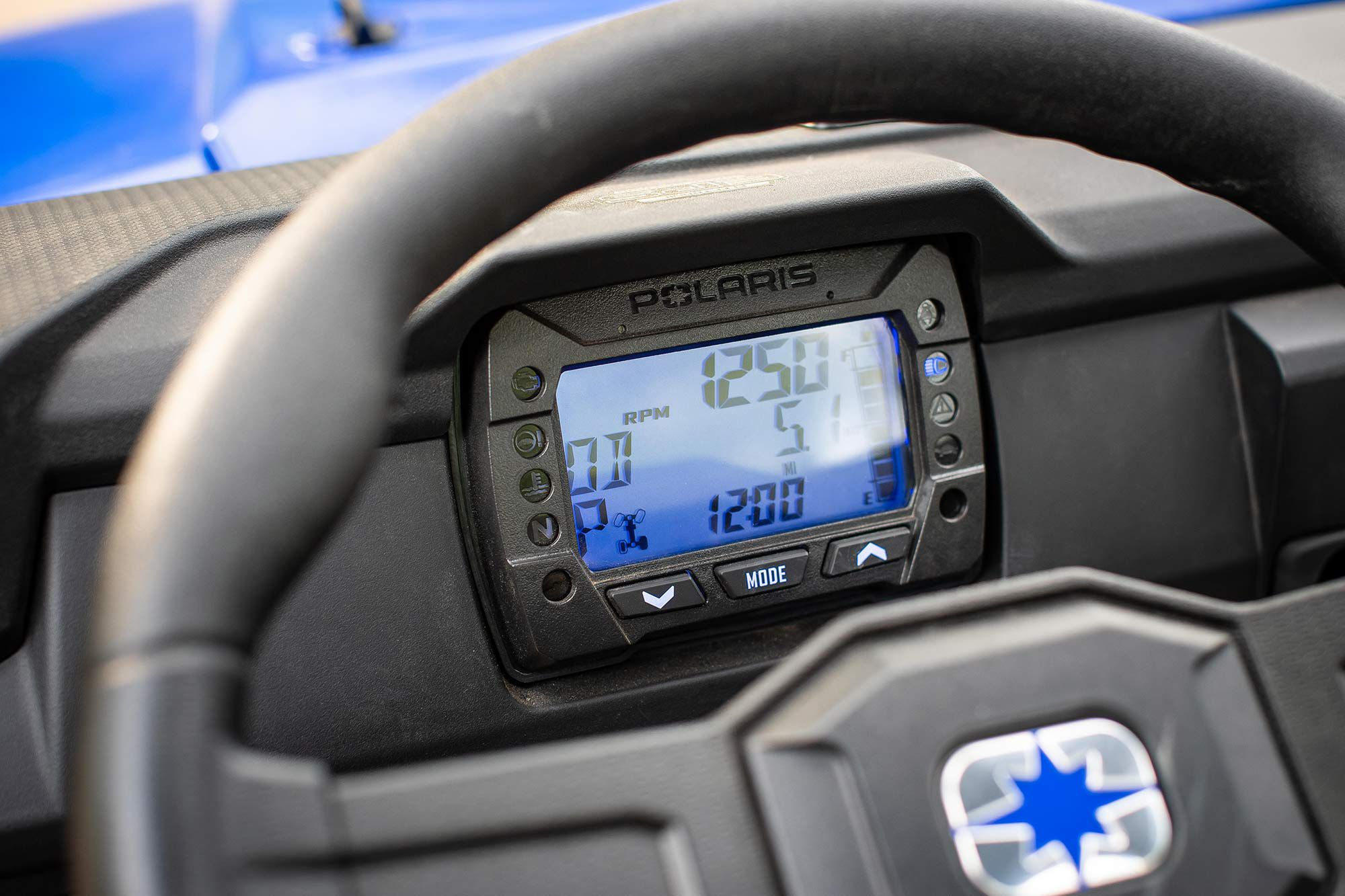 Simple gauges dominate the dash, but Ride Command is now also available.