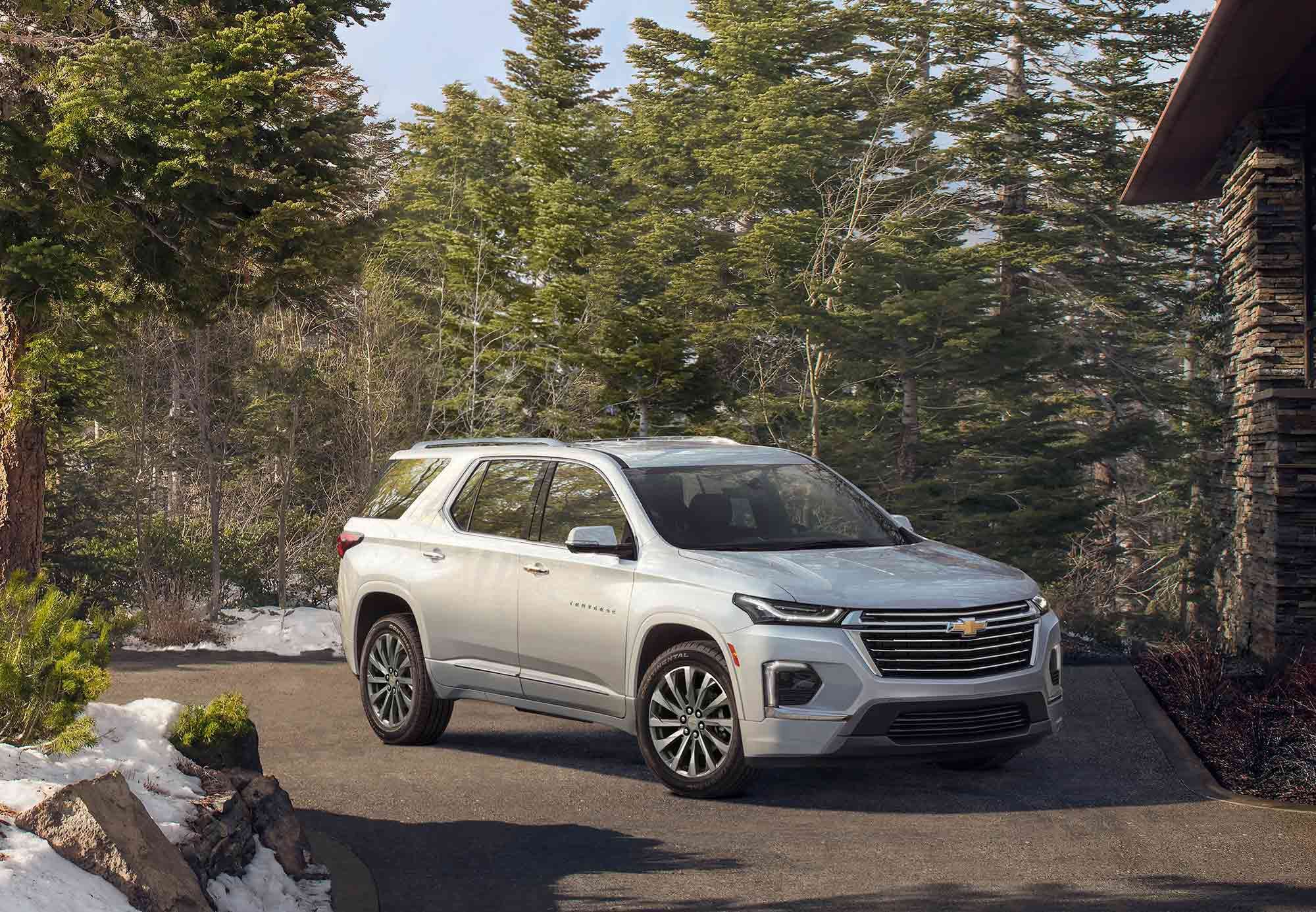 The 2021 Chevrolet Traverse can tow up to 5,000 pounds.