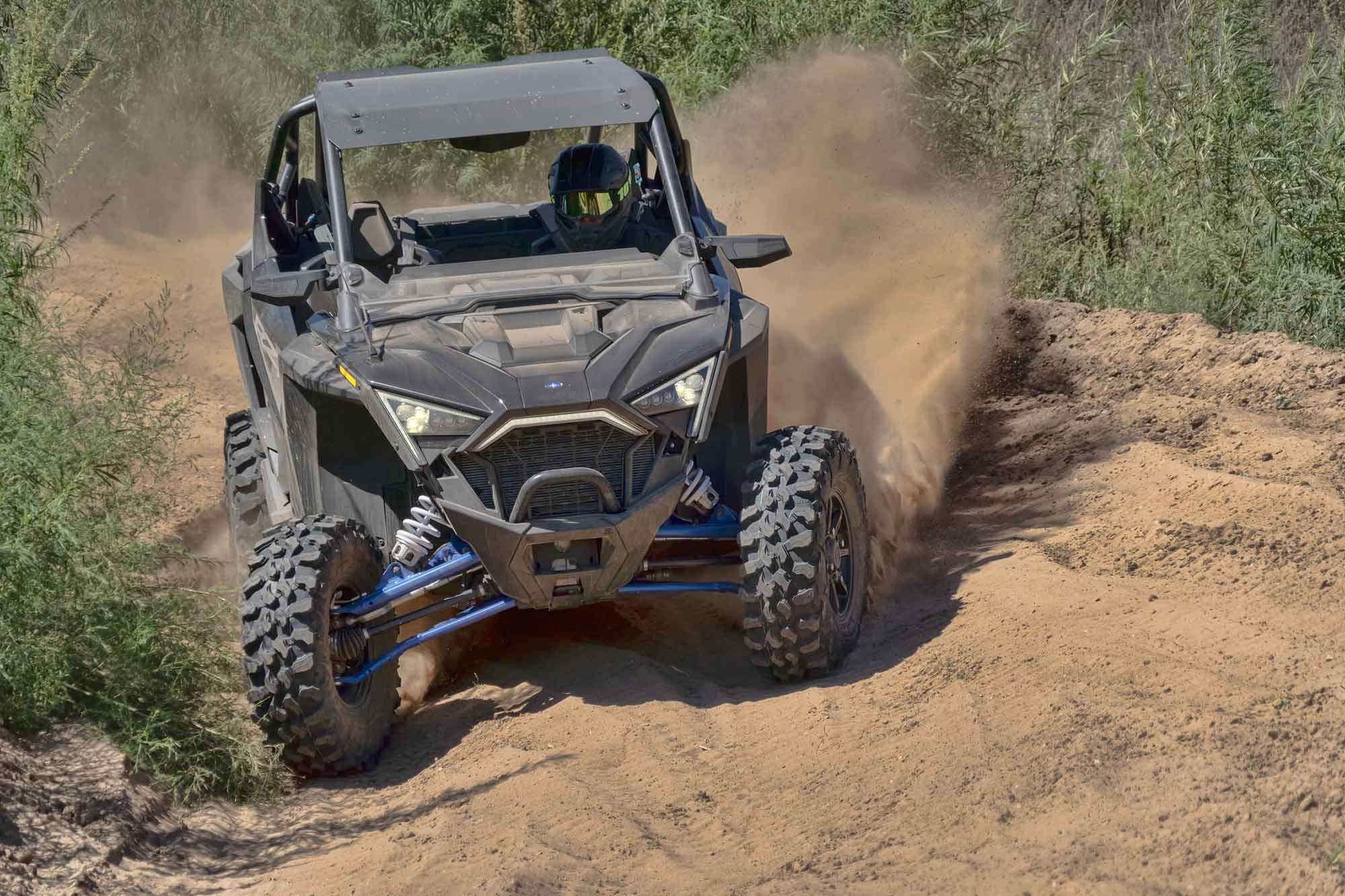 Steering feel is muted, but front-end traction is fairly strong. The stock Maxxis Carnivore tires are great all-terrain meats.