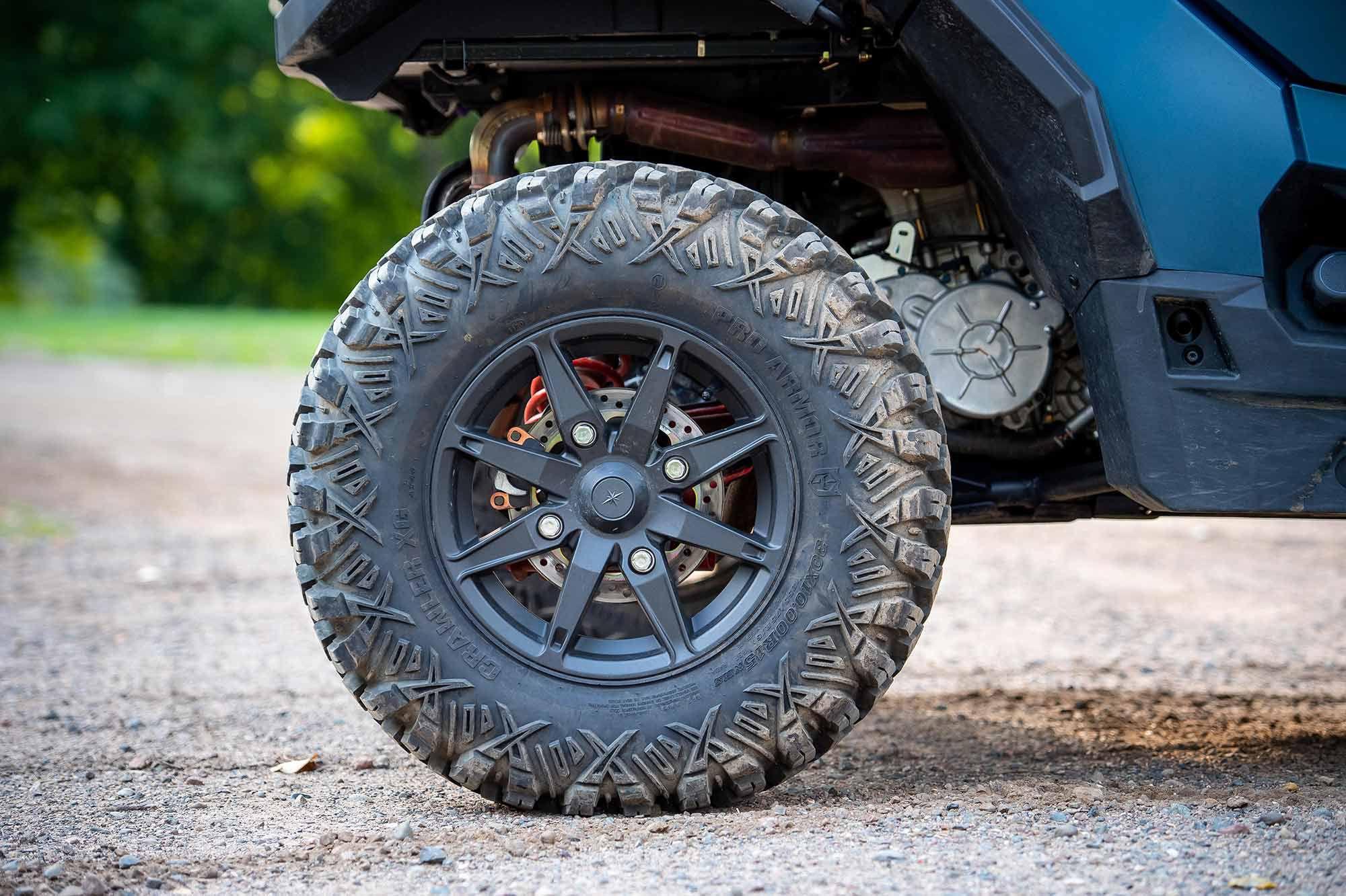 Aggressive 30-inch Pro Armor Crawler XG tires.