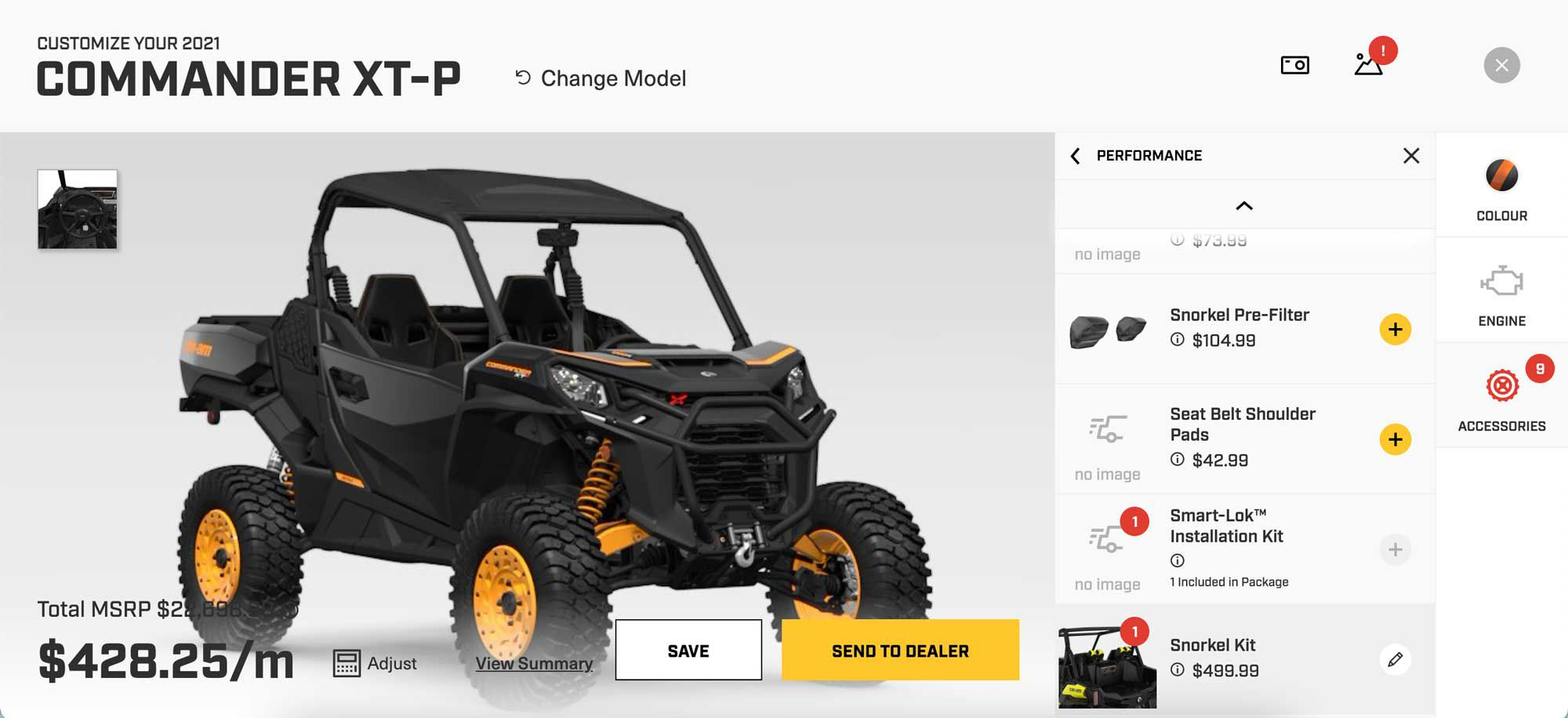 Can-Am's build and price tool