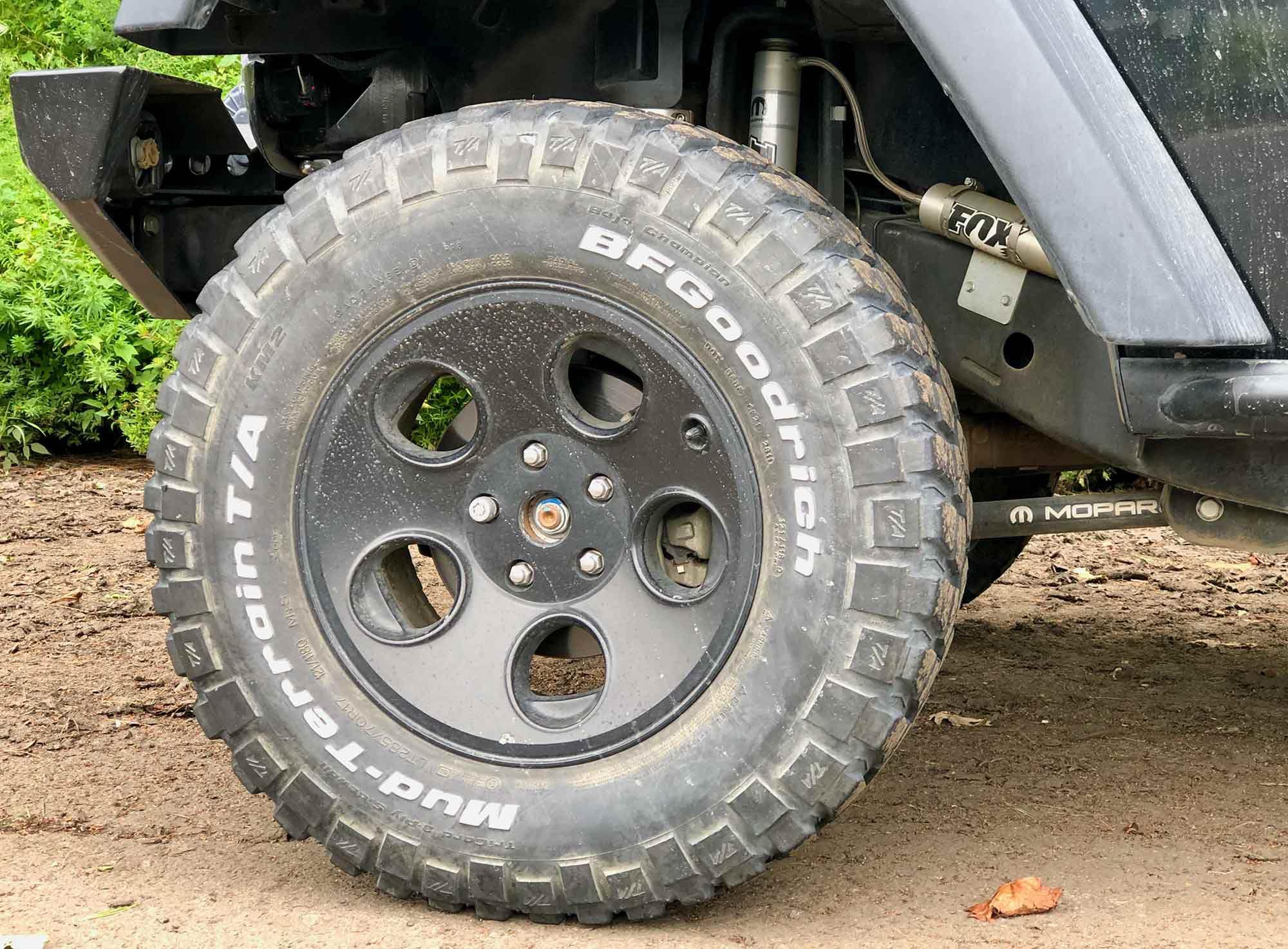 With tires just under 33 inches tall and Fox suspension, our Jeep is set up similar to some UTVs.