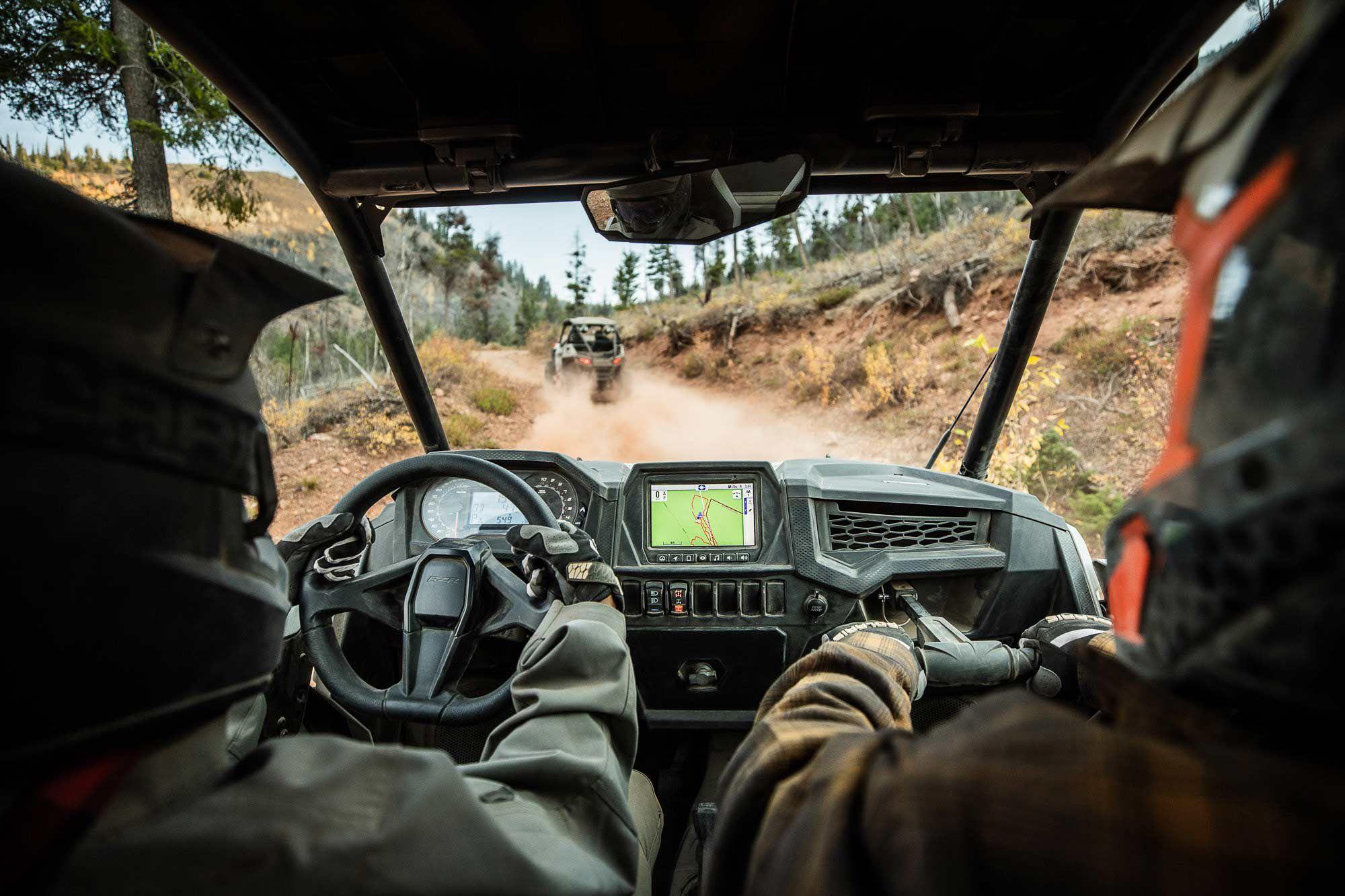 2022 Polaris RZR Trail Ultimate interior cab view.
